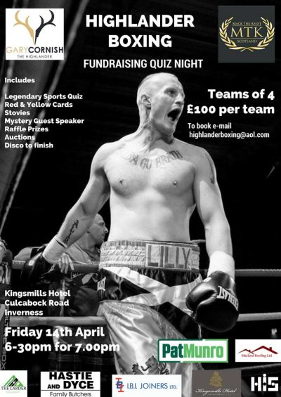 North Highland Events Highlander Boxing Fundraising Quiz Night April 2018 copy